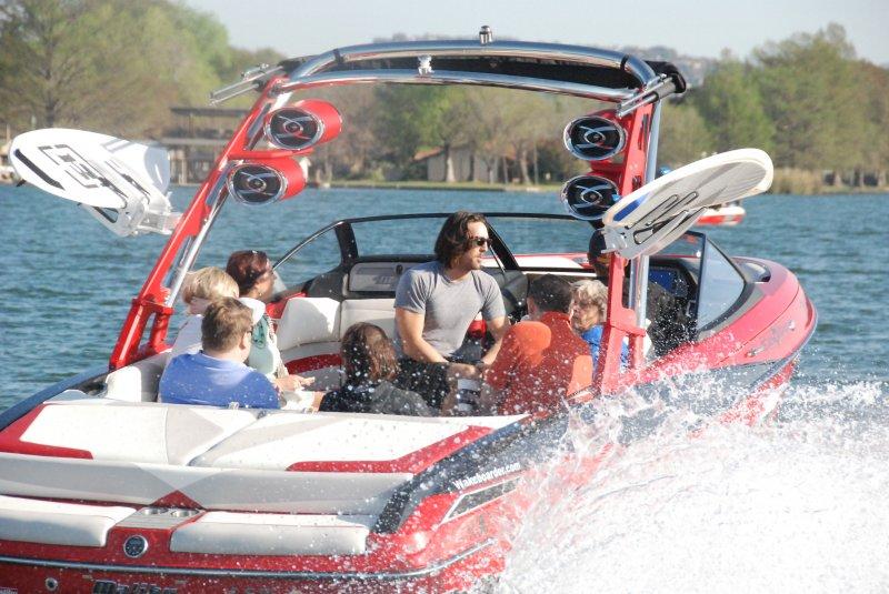 Jake Owen in the Boardstop/Wakeboarder.com Boat